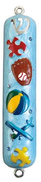 "Boy Enameled Mezuzah with Rhinestones - 5"" Mezuzah Free Shipping - Mitzvahland.com All your Judaica Needs!"