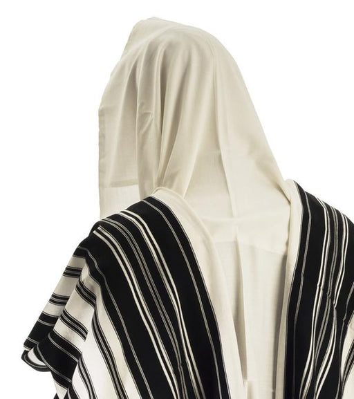 Talit Chabad Size 90 - Black White with Stripes