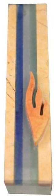Jerusalem Stone and Glass Striped Mezuzah