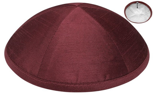 Burgundy Raw Silk Kippah Kippot / Yarmulkes - Mitzvahland.com All your Judaica Needs!
