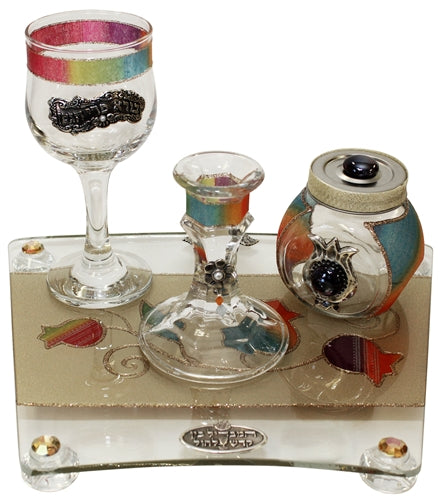 Havdalah Set With Tray Applique - Rainbow Havdalah Sets - Mitzvahland.com All your Judaica Needs!