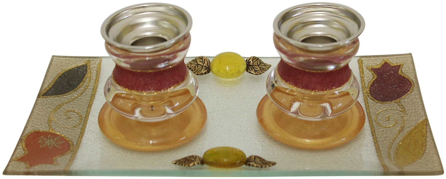 Candle Stick With Tray Small Applique - Red Candlestick Holders - Mitzvahland.com All your Judaica Needs!