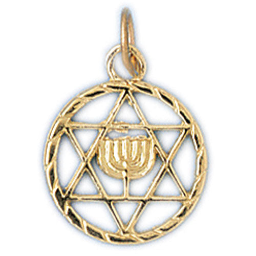 14K Gold Jewish Star of David & Menorah Charm Jewelry - Mitzvahland.com All your Judaica Needs!
