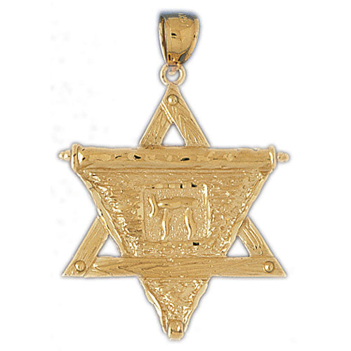 14K Gold Star of David w/Chai On Scroll Pendant Jewelry - Mitzvahland.com All your Judaica Needs!