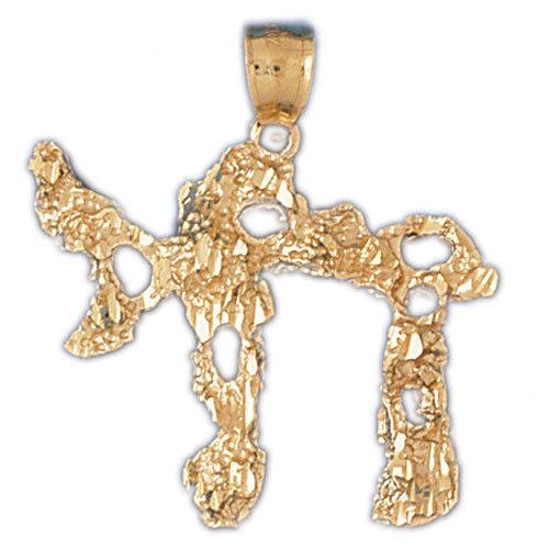14K Gold Elaborate Hebrew Jewish Chai Life Pendant Jewelry - Mitzvahland.com All your Judaica Needs!