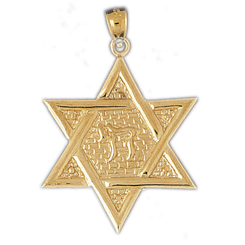 14Kt Yellow Gold Star of David w/Chai Life Pendant Jewelry - Mitzvahland.com All your Judaica Needs!