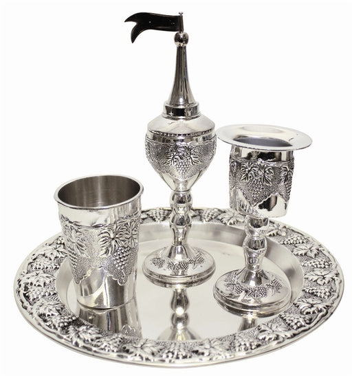 Grape Design Havdalah Set Nickel Plated Havdalah Sets - Mitzvahland.com All your Judaica Needs!