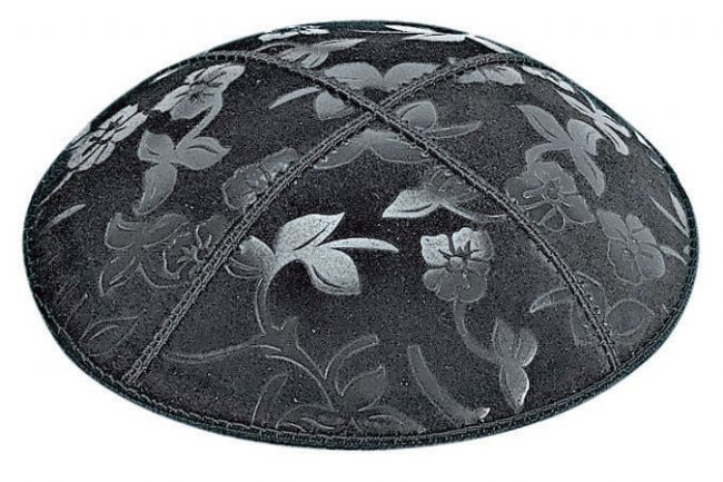 Flowers Embossed Kippah Kippot / Yarmulkes - Mitzvahland.com All your Judaica Needs!
