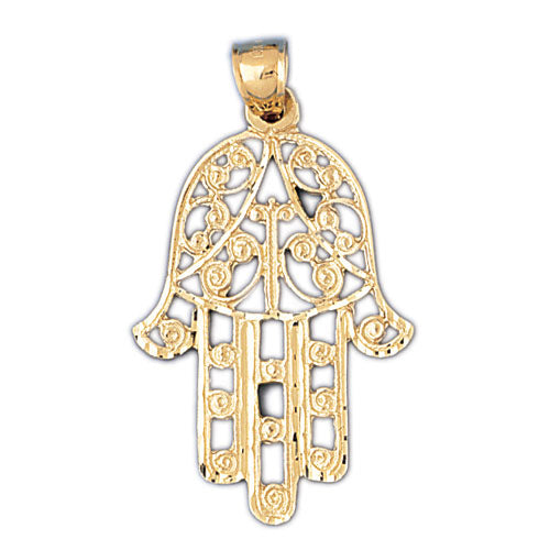 14K Gold Protecting Hamsa Hand Pendant Jewelry - Mitzvahland.com All your Judaica Needs!