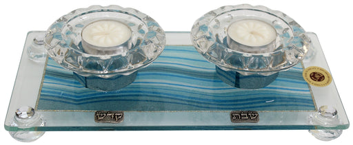 Candle Stick With Tea Light Applique - Ocean Blue Candlestick Holders - Mitzvahland.com All your Judaica Needs!