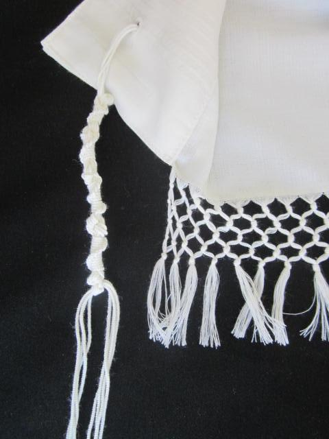 Talit Net Fringes White #55 - Yemenite Style