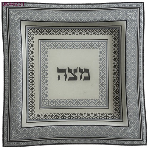Light Blue Glass Matzah Plate