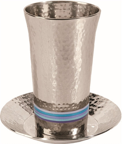 Blue Stripes Hammered  Kiddush Cup