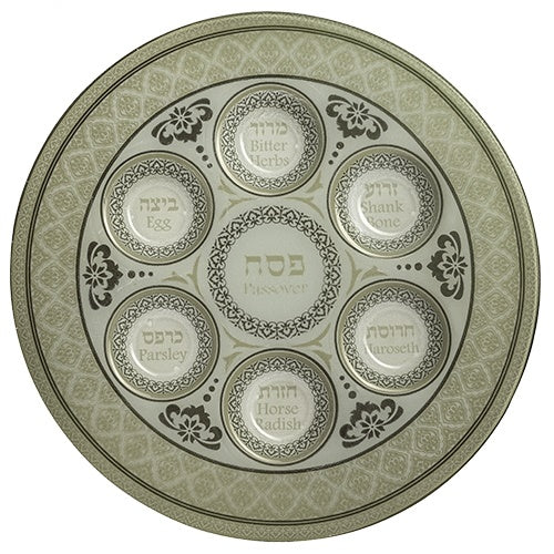 Glass Seder Plate Decorative Round Off White, Multi Color