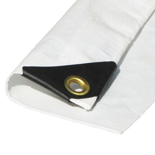 "8' x 30' White Tarp Extra Heavy Duty - 08 X 30 (Finished Size 7'6"" x 29'6"")  w/Grommets"