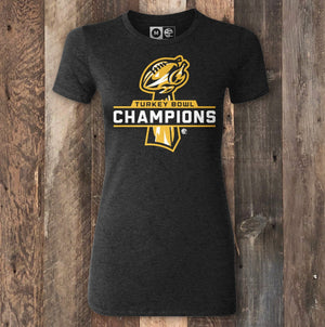 Turkey Bowl Champions Black Heather Ladies T-Shirt