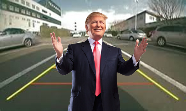 Trump in my car's back up camera, back up camera prank, trump prank, vehicle backup camera prank