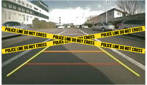 Police barrier backup camera prank