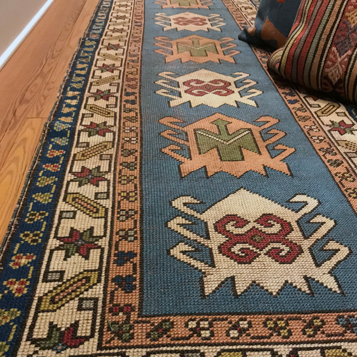 Handwoven vintage Turkish rug with hard to find colors. The runner is sized at 39x115.
