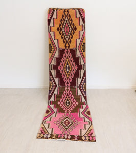 ON HOLD 1021 Kilim 2'8x10 Handwoven Vintage Rug