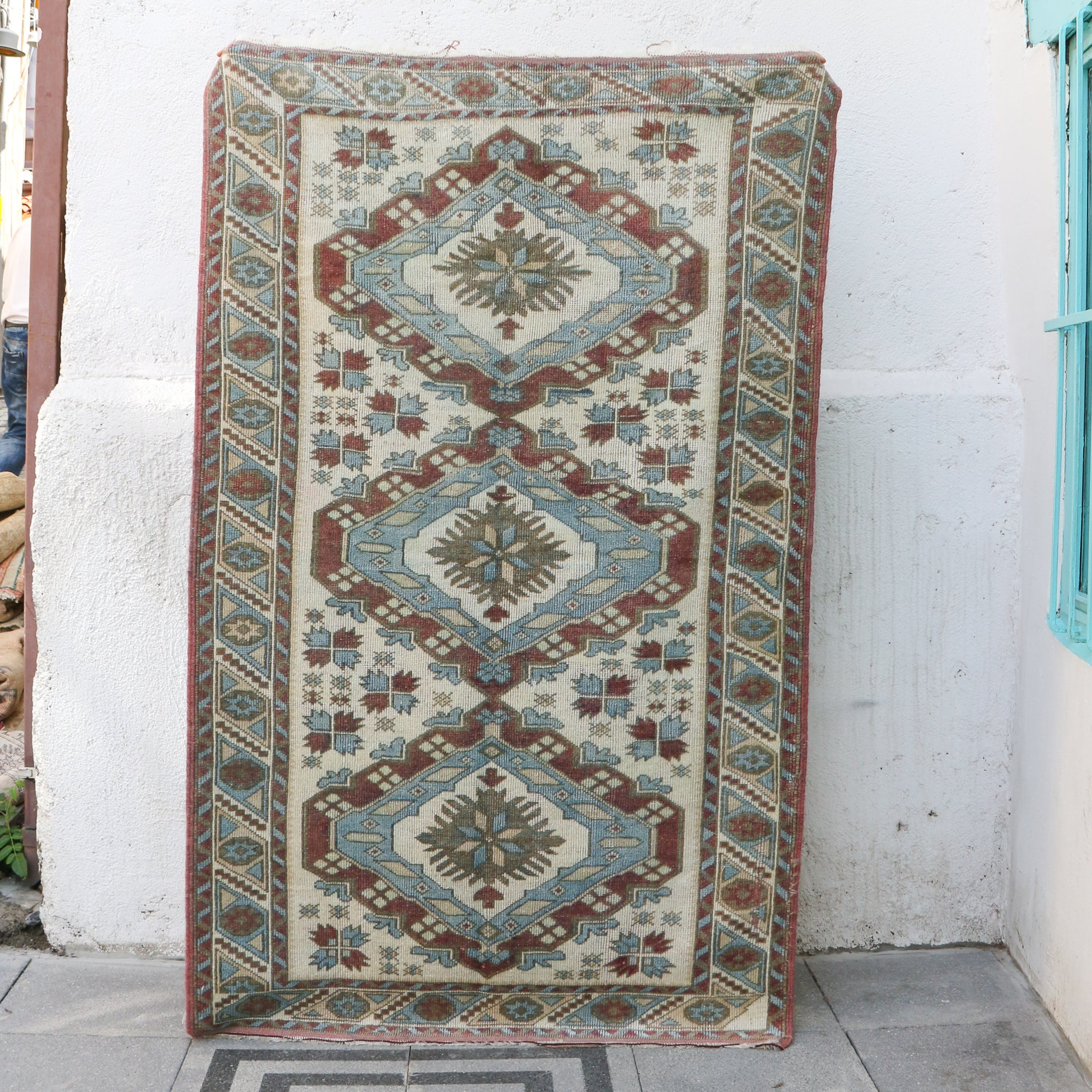 ON HOLD 1056 Fatma 3'8x5'10 Handwoven Vintage Rug