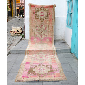 ON HOLD 1107 Esma 3'8x12'10 Handwoven Vintage Rug