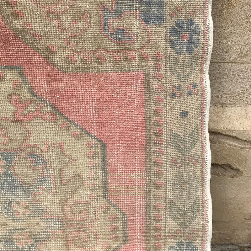 This handwoven vintage Turkish rug has spectacular soft colors. 52x79 inches.
