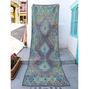 ON HOLD 1210 Deniz 3'9x11'5 Handwoven Vintage Rug