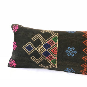 12x24 Kilim pillowcase made from recycled handwoven vintage Turkish kilims.  Zipper closure. Insert not included. Natural dyes. Wool. One of a kind.   Colors include warm black, tan, blue, green, pink. bright pink/orange and red.