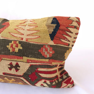 12x24 Kilim pillowcase made from recycled handwoven vintage Turkish kilims.  Zipper closure. Insert not included. Natural dyes. Wool. One of a kind.