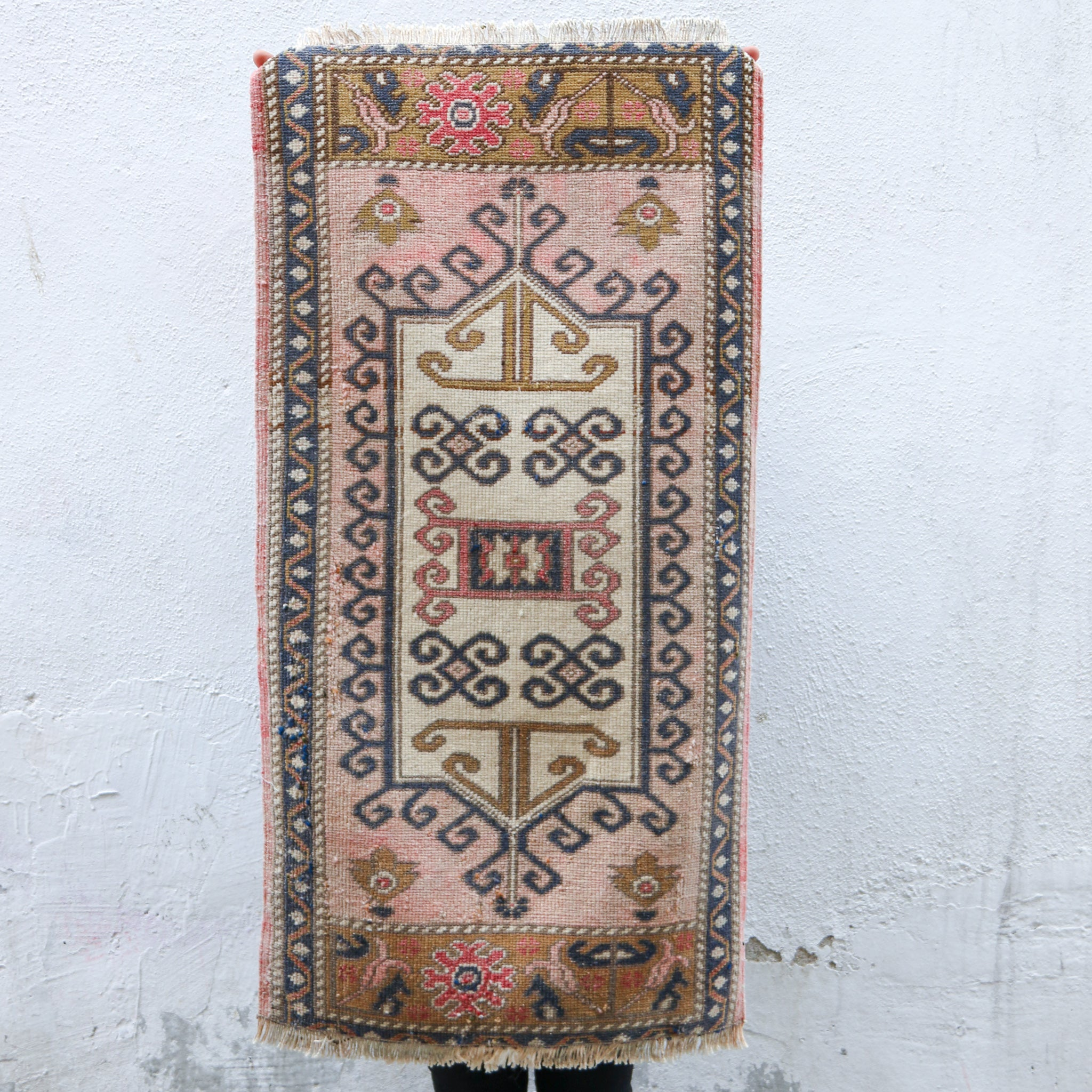 ON HOLD 1327 Small Handwoven Vintage Rug 1'10x3'7