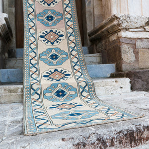 CURRENTLY ON HOLD 1610 Berna 3'2x12'6 Handwoven Vintage Rug