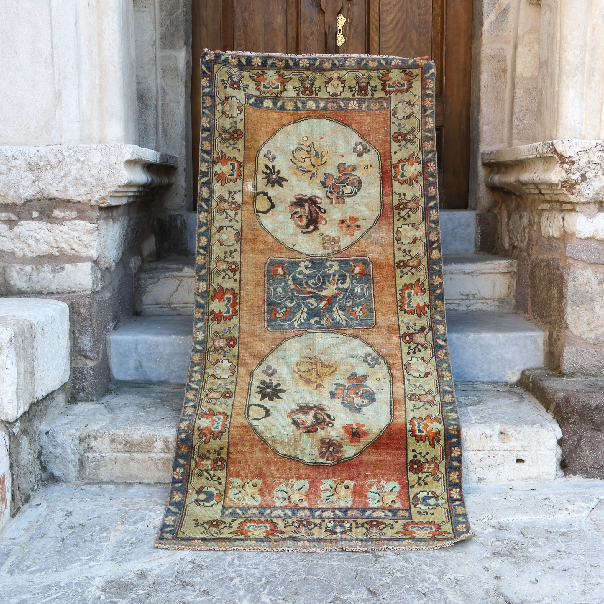 On Hold 1621 Burcu 3'9x8'11 Handwoven Vintage Rug