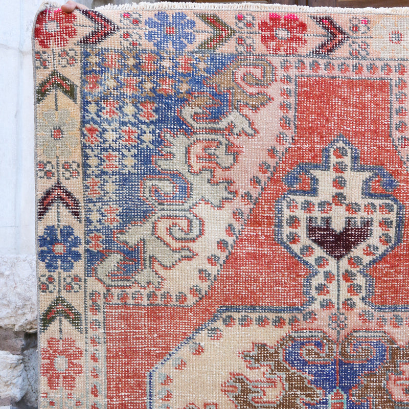 ON HOLD KR 1652 Handwoven Vintage Rug 4'6x7'2