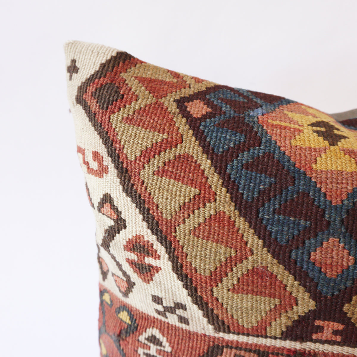 16x16 Kilim pillowcase made from recycled handwoven vintage Turkish kilims.  Zipper closure. Insert not included. Natural dyes. Wool. One of a kind.