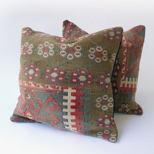 16x16 Kilim pillowcase made from recycled handwoven vintage Turkish kilims.  Zipper closure. Insert not included. Natural dyes. Wool. Each pillow is one of a kind.