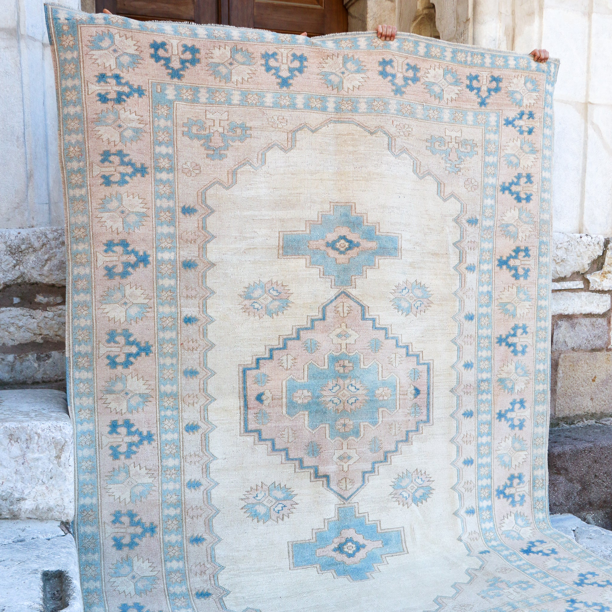 ON HOLD 1722 Aysun 6'11x9'5 Handwoven Vintage Rug