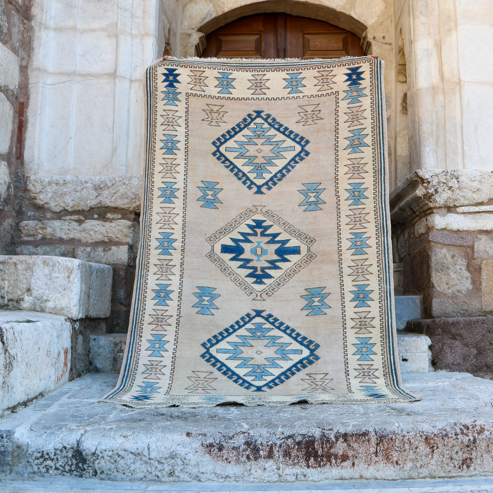 ON HOLD 1727 Funda 4'10x7'8 Handwoven Vintage Rug