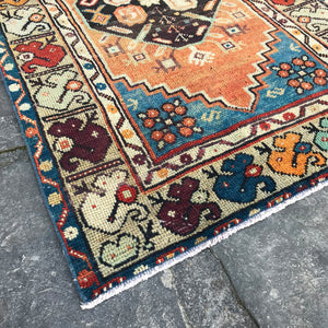 Amazing colors and design in this handwoven vintage Turkish runner. This beauty is 34x114.