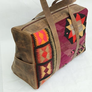 Kilim & Leather Overnight Bag #19 (w/ side pockets)