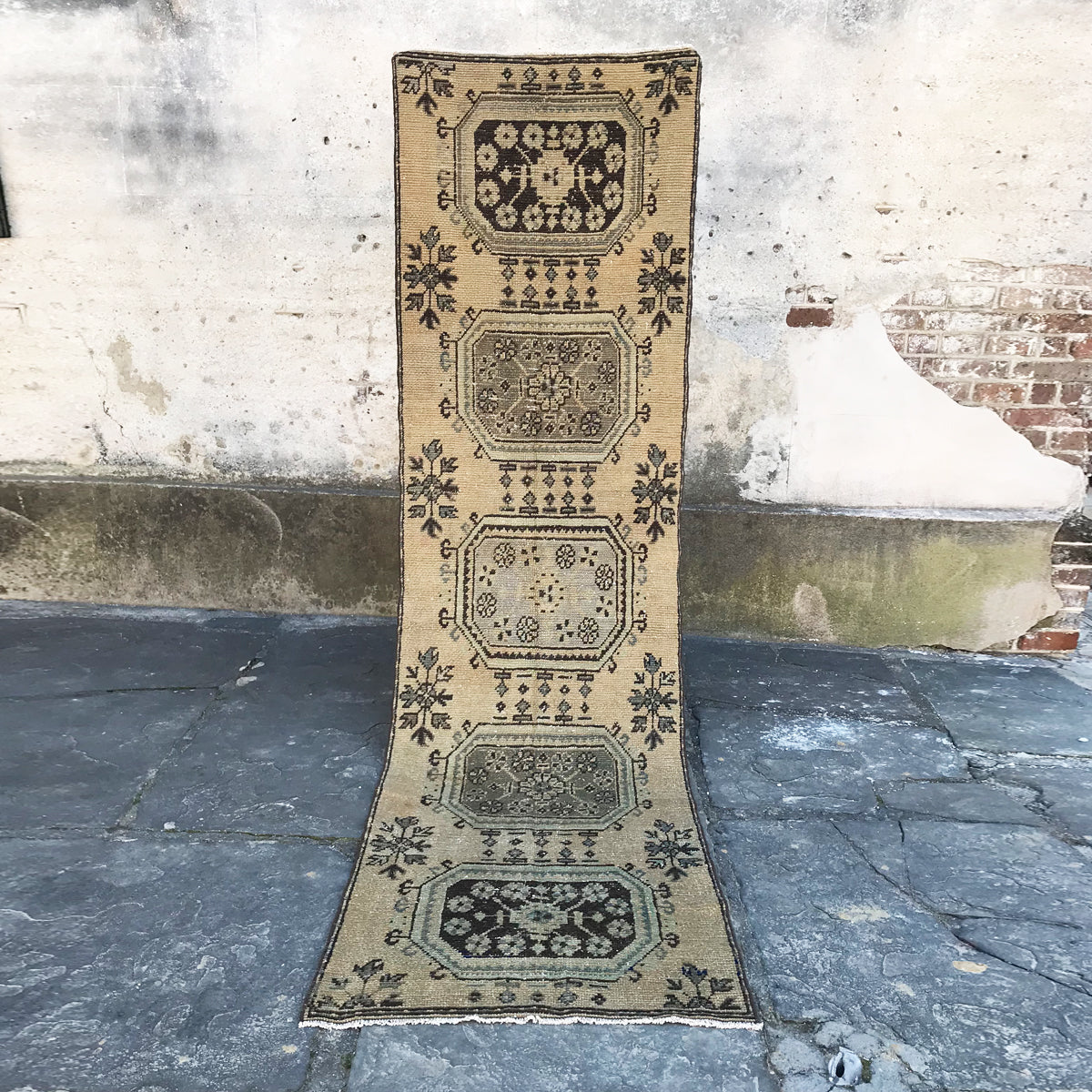 Handwoven vintage Turkish runner. Neutral with grayish blue and green accents.  There are even small pops of cobalt in this beauty! 31x144. OUT ON APPROVAL.