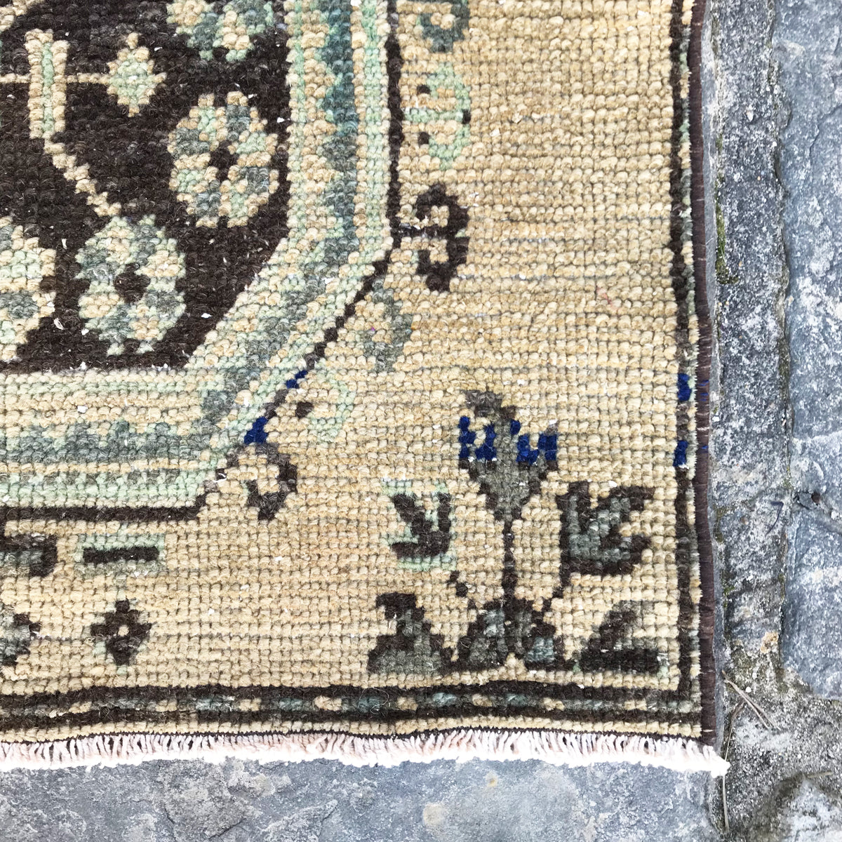 Handwoven vintage Turkish runner. Neutral with grayish blue and green accents.  There are even small pops of cobalt in this beauty! 31x144.