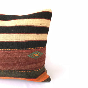 20x20 Kilim pillowcase made from recycled handwoven vintage Turkish kilims.  Zipper closure. Insert not included. Natural dyes. Wool. One of a kind.