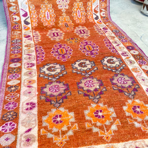 ON HOLD A 2527 Handwoven Vintage Rug 3'1x11'3