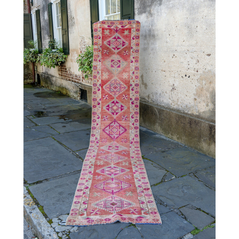 ON HOLD 398 Bersa 2'6x13 Handwoven Vintage Rug