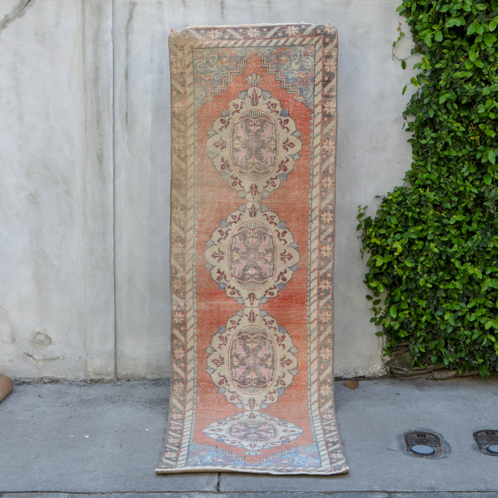ON HOLD 482 Vildan 2'8x9'4 Handwoven Vintage Rug