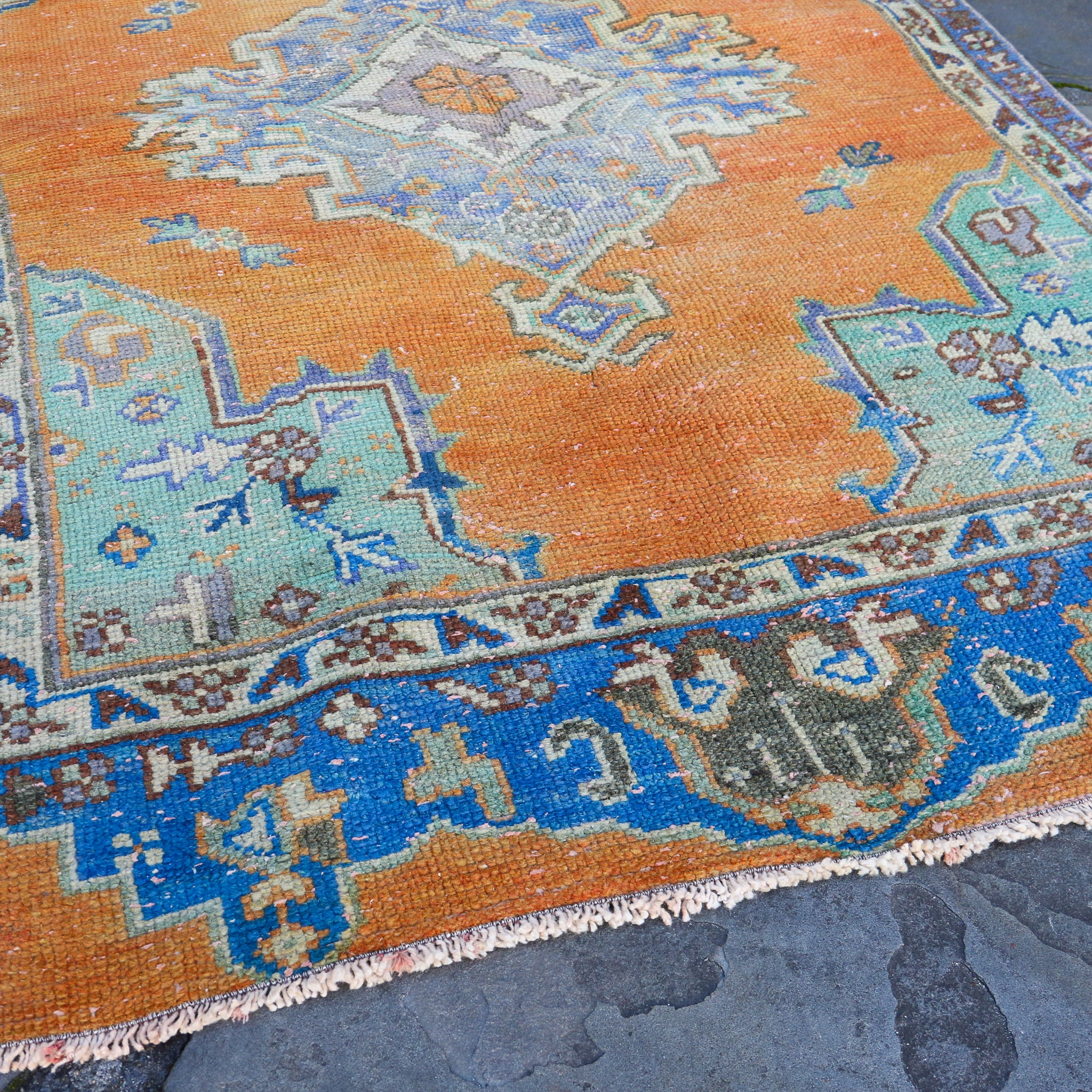 ON HOLD 746 Zuhal 3'8x5'9 Handwoven Vintage Rug
