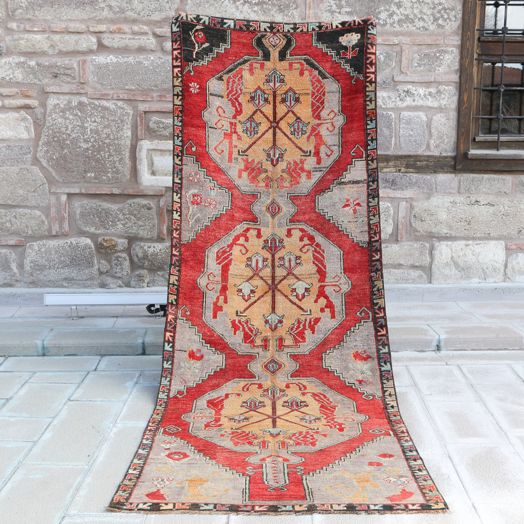 812 Lale 3'11x11'4 Handwoven Vintage Rug