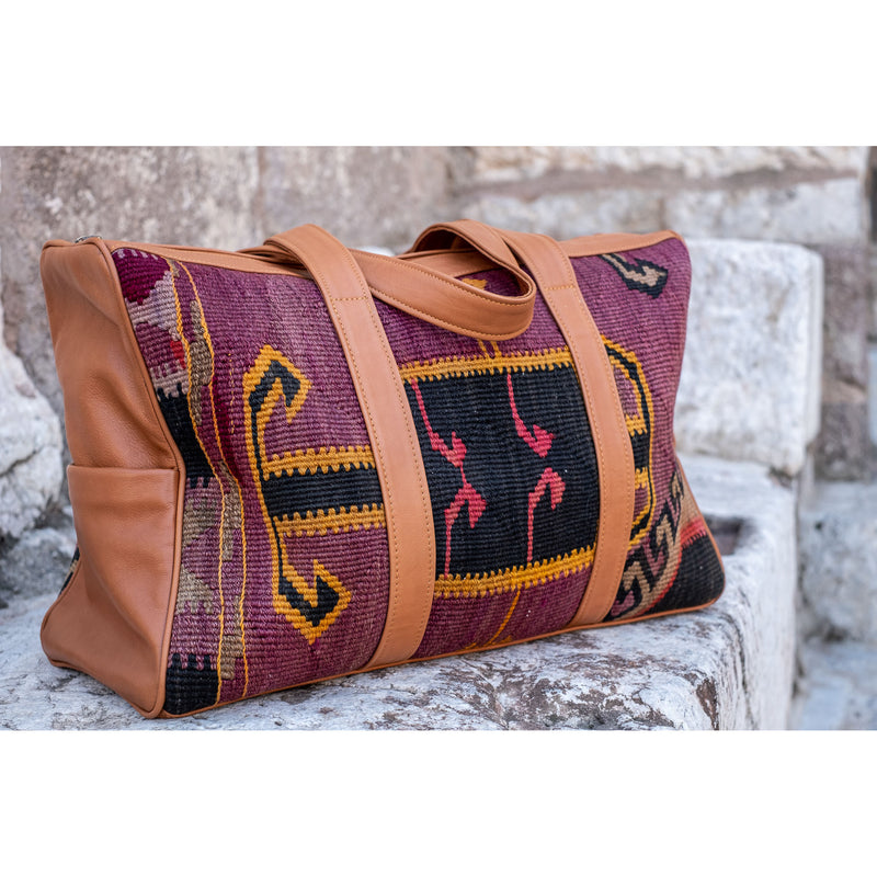 Kilim & Leather Overnight Bag #60 (w/ side pockets)