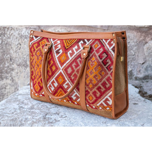Kilim & Leather Day Bag #40